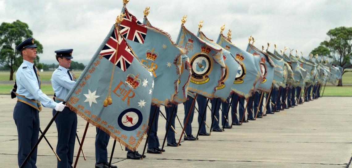 Presentation of the new Queens Colours to the Royal Australian Air Force by Her Majesty Queen Elizabeth II